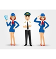 two beautiful stewardesses and handsome pilot vector image
