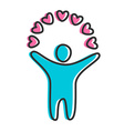love heart person icon vector image