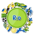Brazil background with sticker objects and vector image vector image