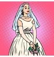 Bride in white wedding dress pop art retro style vector image