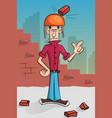 brick builder falls on his head vector image
