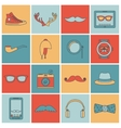 Hipster icons set flat line vector image