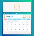 march 2018 calendar or desk vector image
