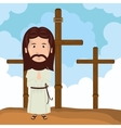 Jesus christ mount calvary design vector image