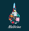 medical enema symbol with dietetics medicine icons vector image vector image