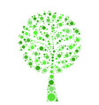 tree mosaic of green dots on white background vector image