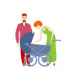 flat adult couple and baby stroller vector image