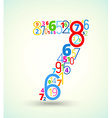 Number 7 colored font from numbers vector image
