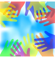 abstract hands against a blue sky vector image vector image