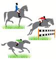 horses and jockeys vector image