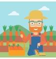 Farmer collecting carrots vector image