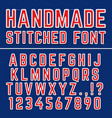 handmade embroidered font alphabet vector image