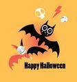little funny bats for Halloween on an orange vector image