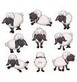 Nice set of cartoon sheep for your design vector image