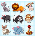 sticker design for many animals vector image