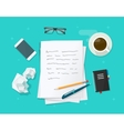 Writer workplace flat cartoon paper sheets vector image