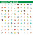 100 helpful icons set cartoon style vector image