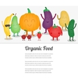 Cartoon fruits and vegetables Eco food background vector image