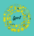 fitness and sport elements in doodle style vector image