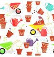 seamless texture with equipment garden and sowing vector image vector image