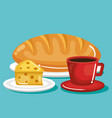 delicious bread with cheese design vector image