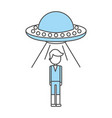 unidentified flying object abducting person vector image