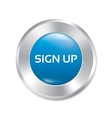 Sign up glossy blue button round sticker vector image