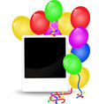 Birthday background with balloons and photo frame vector image