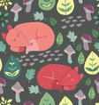 Cute sleepy foxes Seamless pattern vector image