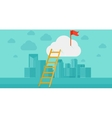 Ladder and flag on top of the cloud on city vector image