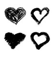 set of hand drawn grunge hearts isolated on white vector image