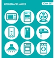 set of round icons white Kitchen appliances vector image
