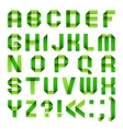 Alphabet folded paper - Green letters vector image