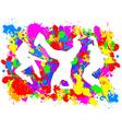 Dancers on Paint Splats vector image