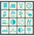 Network icons set flat button vector image