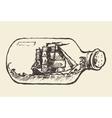 Glass bottle ship inside drawn vector image