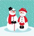 Couple of snowmen vector image