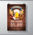 oktoberfest poster with fresh lager beer on wood vector image