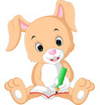rabbit writing on the book cartoon vector image