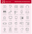 thin line multimedia and electronics icons set vector image