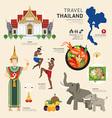 Travel Concept Thailand Landmark Flat Icons Design vector image