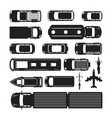 vehicles cars and transportation in top or above vector image