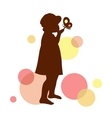 Girl silhouette with butterfly on the abstract vector image