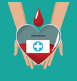 hand holding glass heart blood drop cross vector image