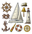 anchor wheel sailing ship compass rose vector image