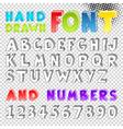 Hand drawn sketch font vector image vector image