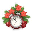 Christmas time composition with alarm clock vector image