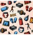 Boxing hand drawn color pattern - gloves shorts vector image