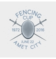 Fencing cup competition sport badge vector image