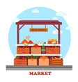 Food counter or stall at market with groceries vector image